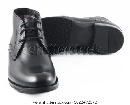 Black Mens Leather Winter Boots Isolated Stock Photo (Edit Now ... 6baaad8d6cde