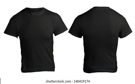 Black men's shirt template, front and back design