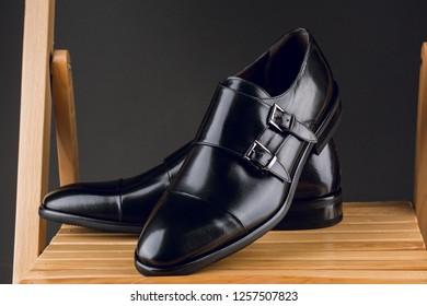 Black men`s shoes. Men's accessories. Unique style men's shoes