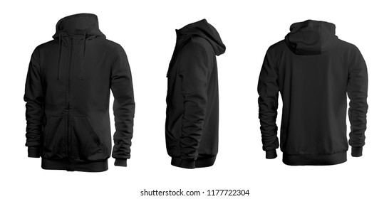 Black men's sweatshirt with long sleeves and hood in rear and side views