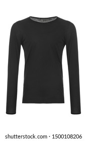 Black men's T-shirt with long sleeves on a white background
