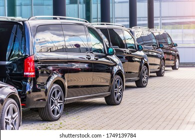 Black Mercedes-Benz V class, back side view row minivan in a parking lot. Russia, Saint-Petersburg. 13 may 2020