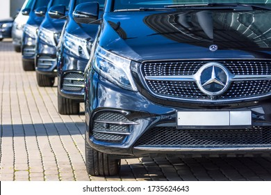 Black Mercedes-Benz V class, front view minivan in a row in a parking lot. Russia, Saint-Petersburg. 26 march 2020