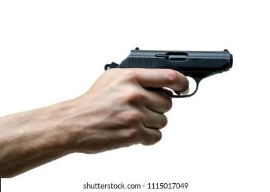 Black metal 9mm pistol gun in hand on white background.