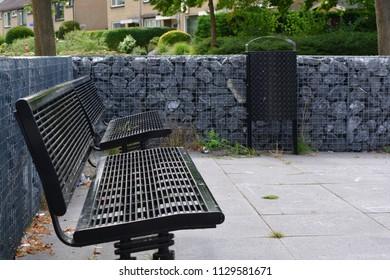 Black metal benches