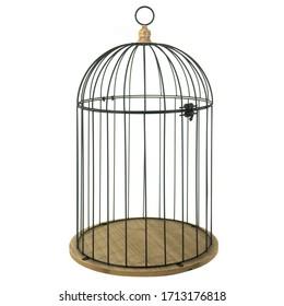 black metal birdcage for decoration garden decor isolated