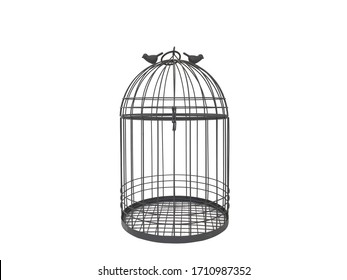 black metal cage on white background