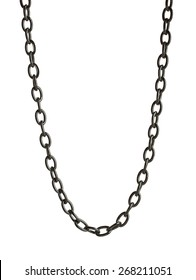 Black metal chain on white background