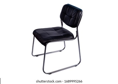 Black Metal Chair with Leather Seat Isolated on White Background