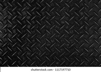 Black metal diamond plate pattern and background