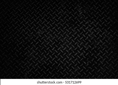 Black Metal Diamond Plate Texture Background.