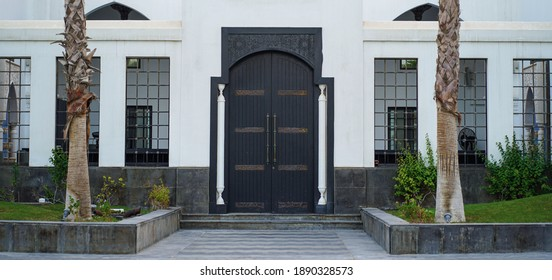 Black Metal Door Entrance to Mosque in Al Dammam, Saudi Arabia