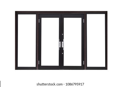 Black metal door isolated on white background