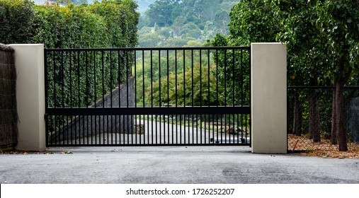Black metal garden entrance gates set in brick fence with tree covered in orange flowers