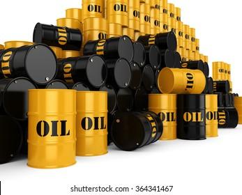 Black metal oil barrels on white background
