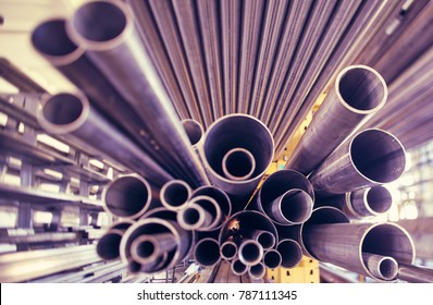 a black metal pipes of various profiles