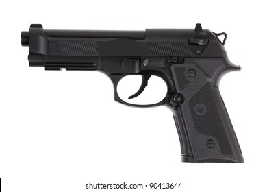 Black metal pistol with the trigger on a white background