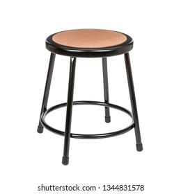 Black metal stool on a white background