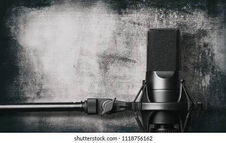 Black metal studio condenser microphone. Side view