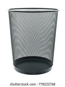 black metal trash bin  placed on white background