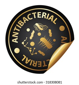 Black Metallic Antibacterial Infographics Peeling Sticker, Label, Icon, Sign or Badge Isolated on White Background