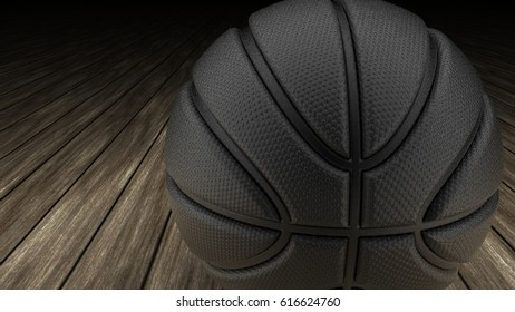 Black Metallic Basketball on wood floor. 3D illustration. 3D CG. High resolution.