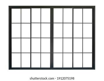 black metallic door frame isolated on white background