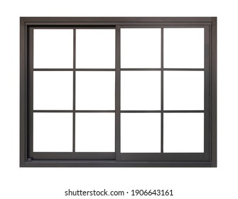 black metallic window frame isolated on white background
