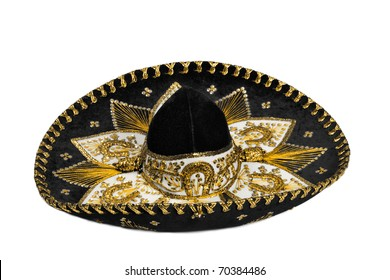Black mexican sombrero from Mexico isolated on white background