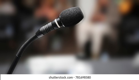 black microphone in auditorium
