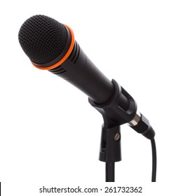 Black microphone with cable on stand isolated on white background