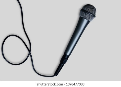 Black Microphone isolated on white background - Clipping path