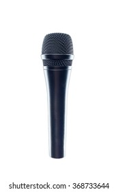 Black Microphone isolated on the white background. Speaker concept.