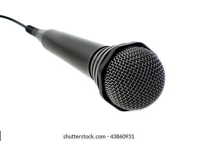 Black microphone on white background. Isolated.