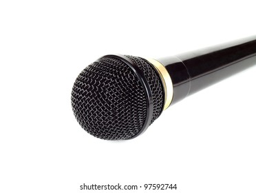 Black microphone on the white background