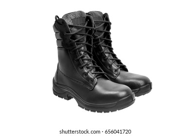 Black military leather boots isolated on white background