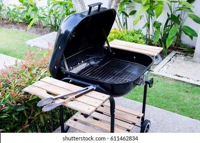 Black mobile barbecue grill.