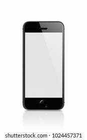 Black Mobile isolated with reflection on white background against white blank screen for displaying the applications on the screen. Mobile technology connects the world closer together.