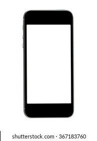 Black mobile phone isolated on white background