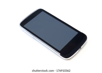Black mobile phone with a large display shot on white background