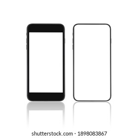 black mobile phone mockup blank screen isolated with clipping path on white background