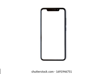 Black mobile phone mockup on white background, place your screen on this mobile