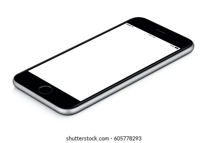 Black mobile smart phone mockup clockwise rotated lies on the surface with blank screen isolated on white background, usable for your web project or design presentation.