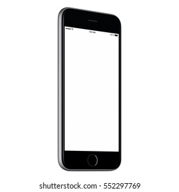 Black mobile smartphone mock up slightly counterclockwise rotated with blank screen isolated on white background. You can use this smart phone mockup for your web-project or UI design presentation.