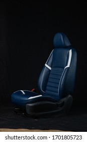 black Modern car fabric sport seats cover with white strip