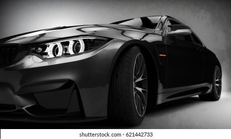 Black modern car headlights close up scene (with grunge overlay), generic brand less - 3d illustration