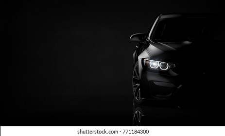 Black modern car headlights - front view (with grunge overlay) - 3d illustration