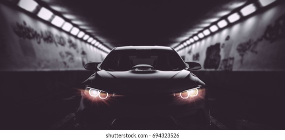 Black modern car headlights with supercharged engine (with grunge overlay) - generic and brandless - 3d illustration