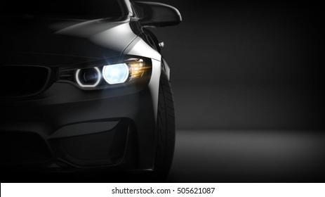 Black modern car headlights (with overlay) - 3d illustration