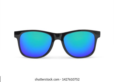 2fc2a4fd7 Black modern frame Sunglasses with Multicolor green Mirror Lens isolated on white  background, Clipping path